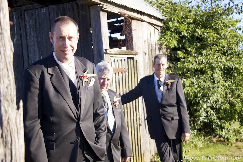 Groom with groomsmen on farm - wedding photography sydney