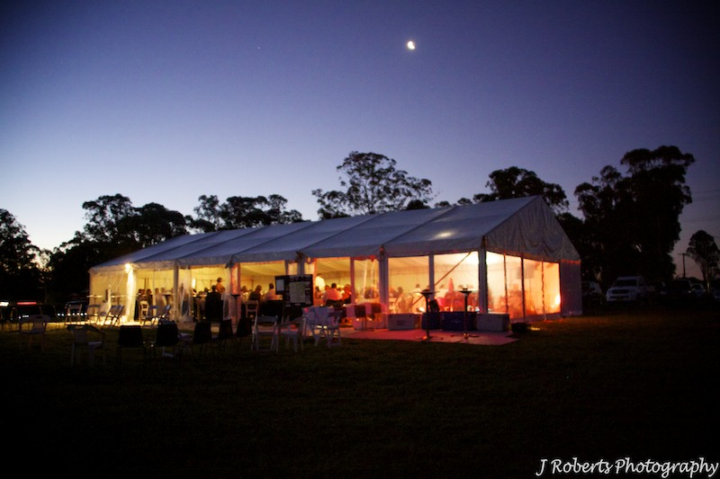 Paddock marquee in moonlight - wedding photography sydney