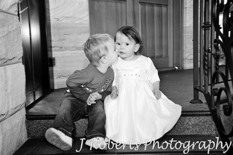 Little toddlers kissing at wedding - wedding photography sydney