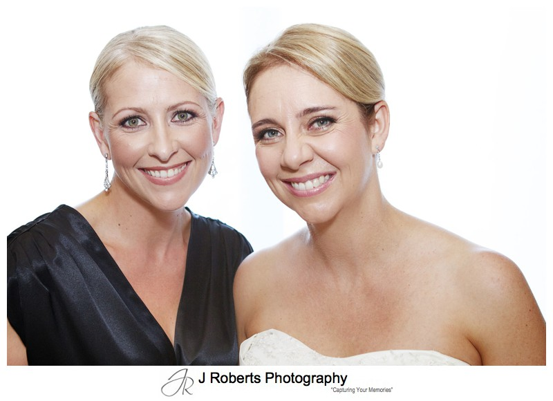 Bridal portrait with sister bridesmaid - wedding photography sydney