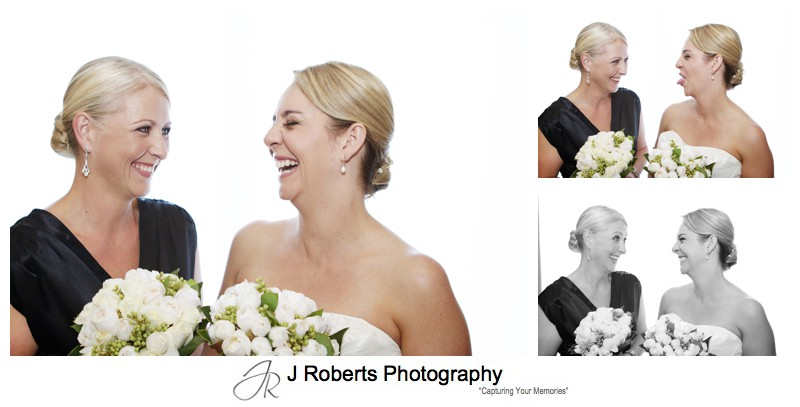 Bridal laughing with bridesmaid - wedding photography sydney