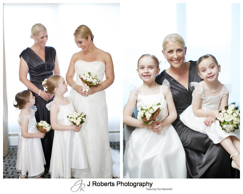 Bridesmaid in black with flowers girls in white - wedding photography sydney