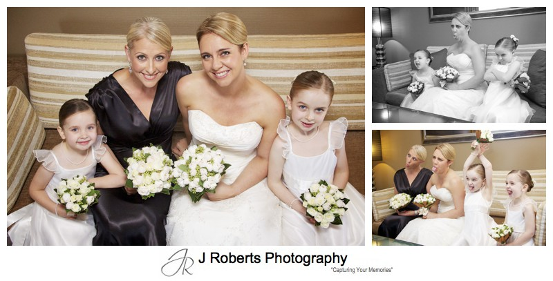 Bride and flower girls making funny faces - wedding photography sydney