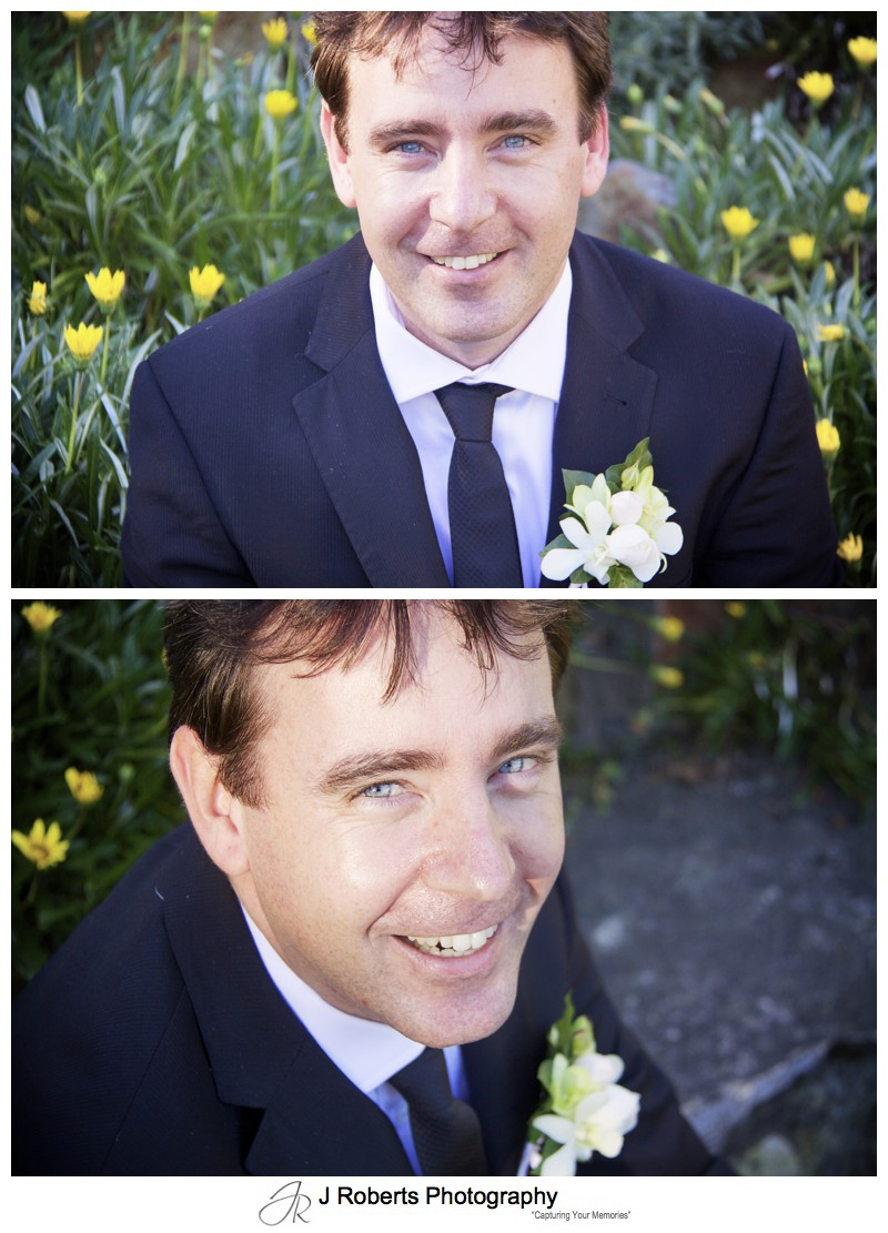 Groom smiling at the camera with yellow flowers - wedding photography sydney