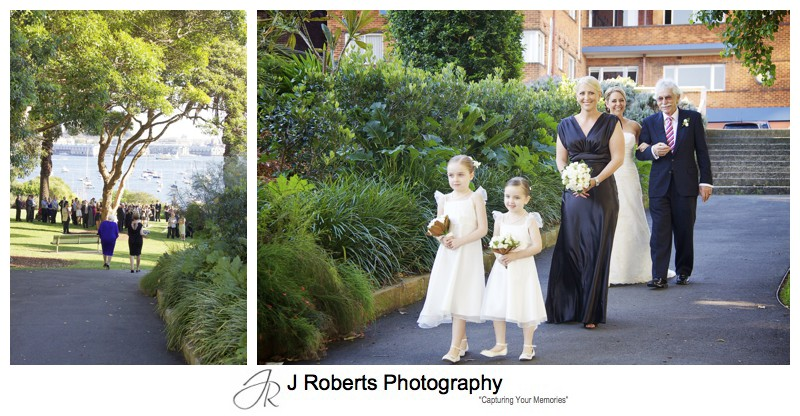 Bride walking down to the ceremony at Clark Park Lavender Bay - wedding photography sydney