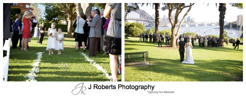 Bridal party walking down the aisle at Clark Park Lavender Bay - wedding photography sydney
