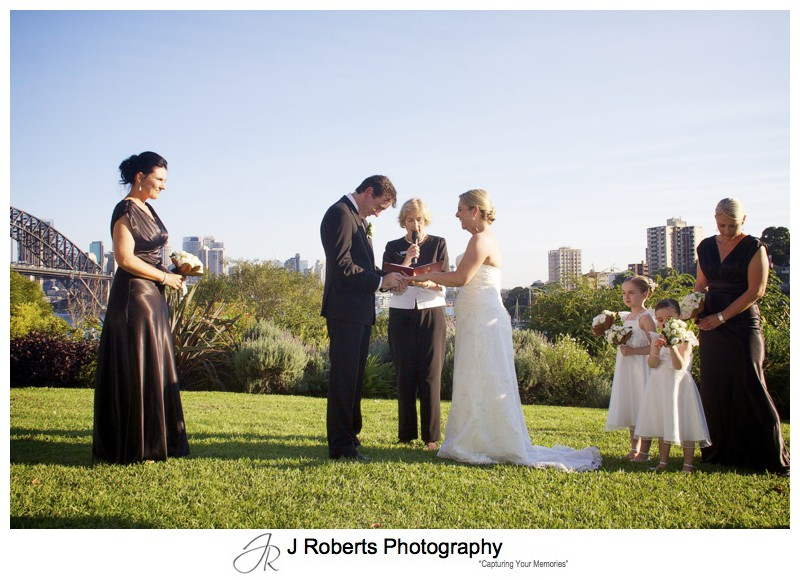 Exchanging vows in Clark Park Lavender Bay - wedding photography sydney