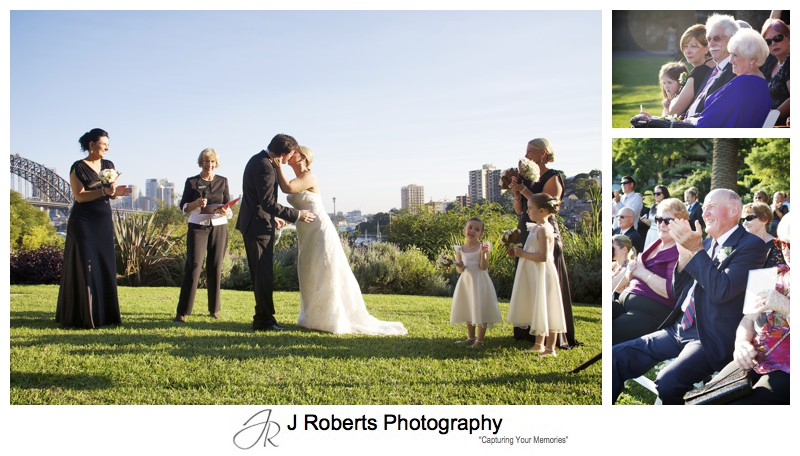 First kiss during wedding ceremony at Clark Park Lavender Bay - wedding photography sydney