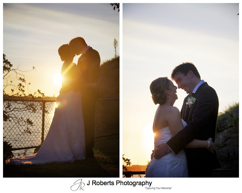 Bride and groom kissing into the sunset - wedding photography sydney
