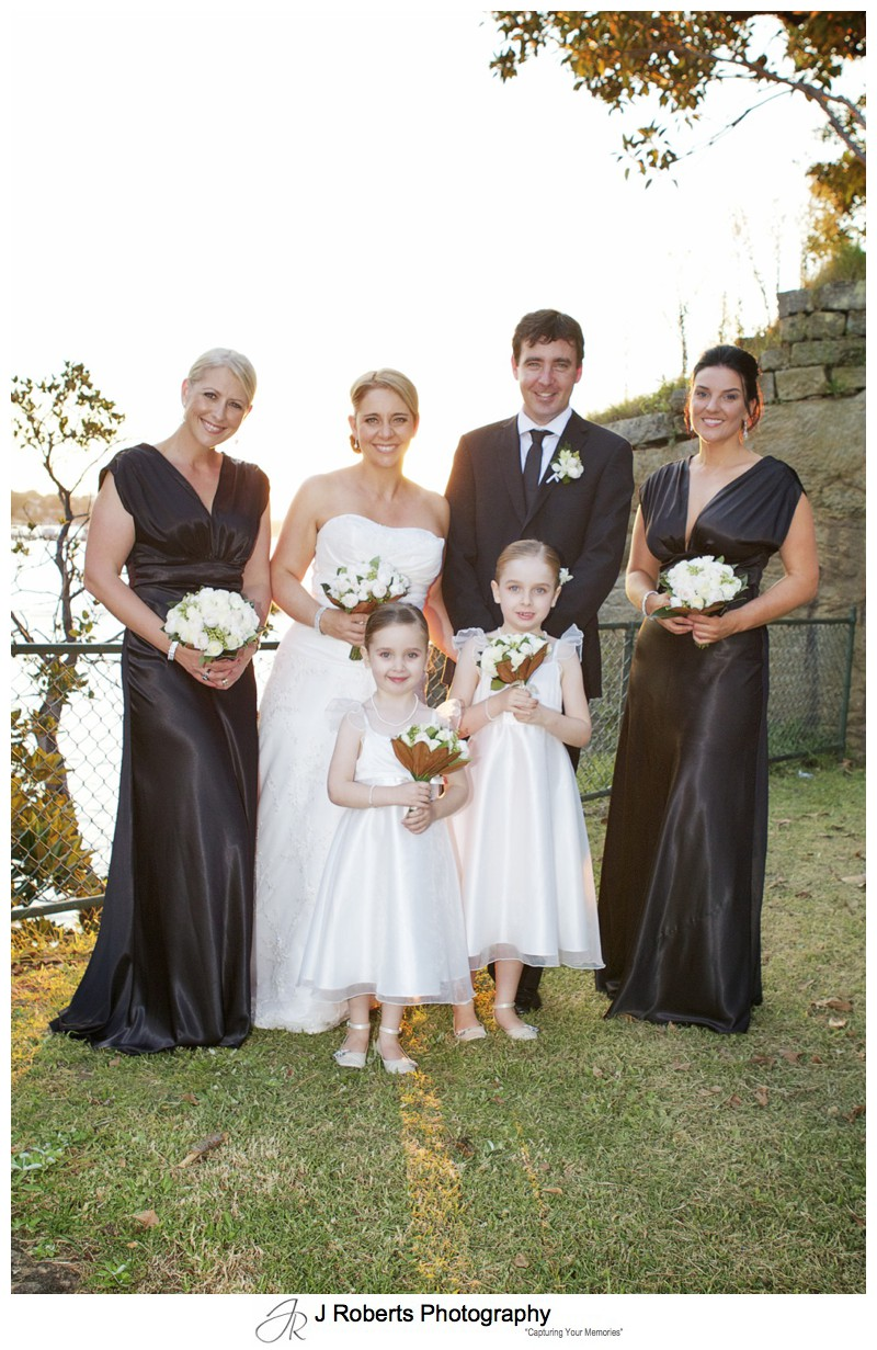 Bridal party in the setting sun - wedding photography sydney