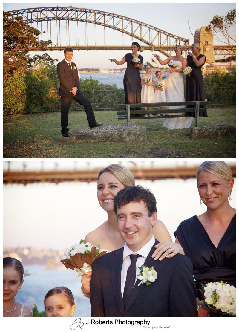 Groom with female bridal party - wedding photography sydney