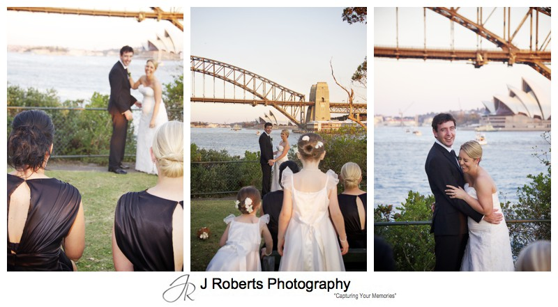 Bride and groom laughing with sydney harbour backdrop - wedding photography sydney