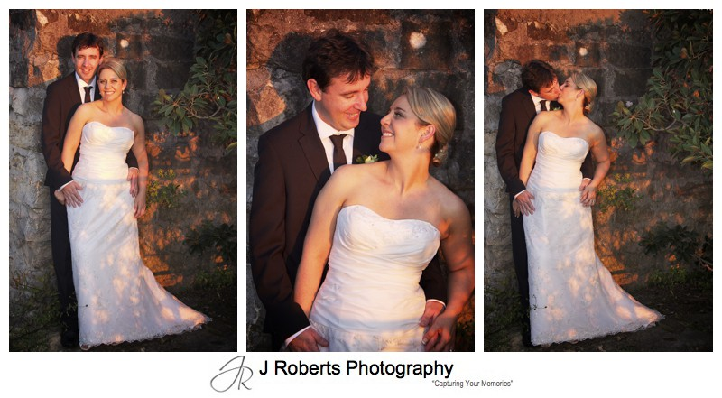 Bride and groom in pinky orange setting sunlight - wedding photography sydney
