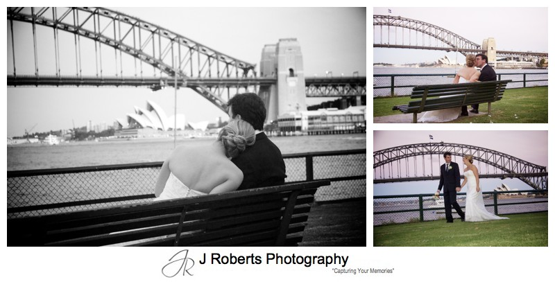 Looking over twilight on Sydney harbour - wedding photography sydney