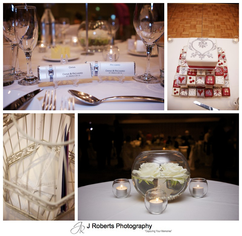 Wedding reception details at Kirribilli Club - wedding photography sydney