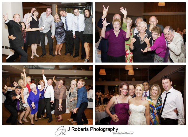 Crazy group photos at wedding reception - wedding photography sydney