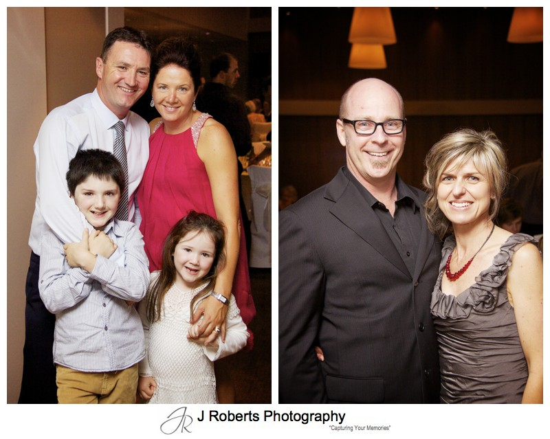 Couple and family portraits at wedding reception - wedding photography sydney