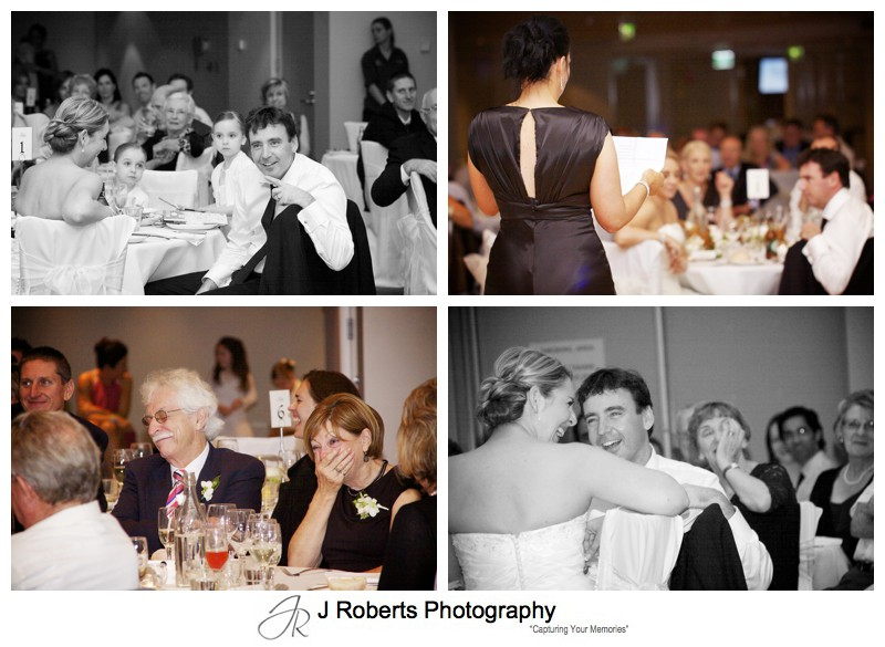 Reactions to wedding speeches - wedding photography sydney
