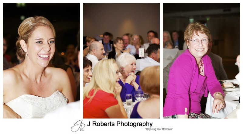 Laughing guests at wedding speeches - wedding photography sydney