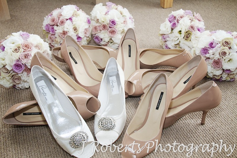 Bridal shoes and flowers - wedding photography sydney
