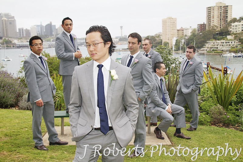 Groom and groomsmen doing Blue Steel - wedding photography sydney
