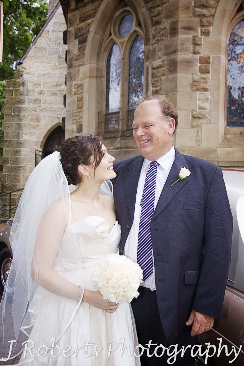 Bride with her father outside the church - wedding photography sydney