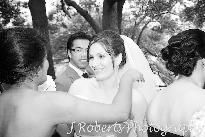 Bride being congratulated after wedding ceremony - wedding photography sydney