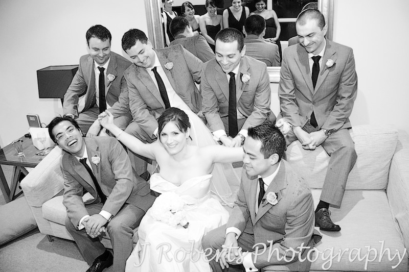 Bride w groomsmen - wedding photography sydney
