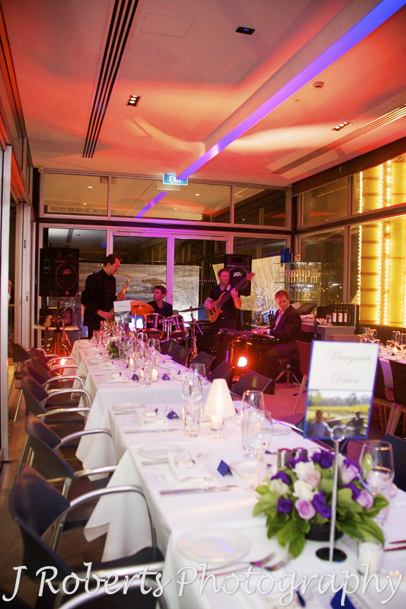 Wedding reception w band at aqua dining - wedding photography sydney