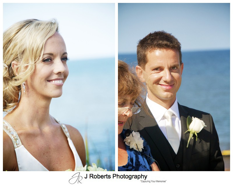Bride and groom smiling during wedding ceremony - wedding photography sydney