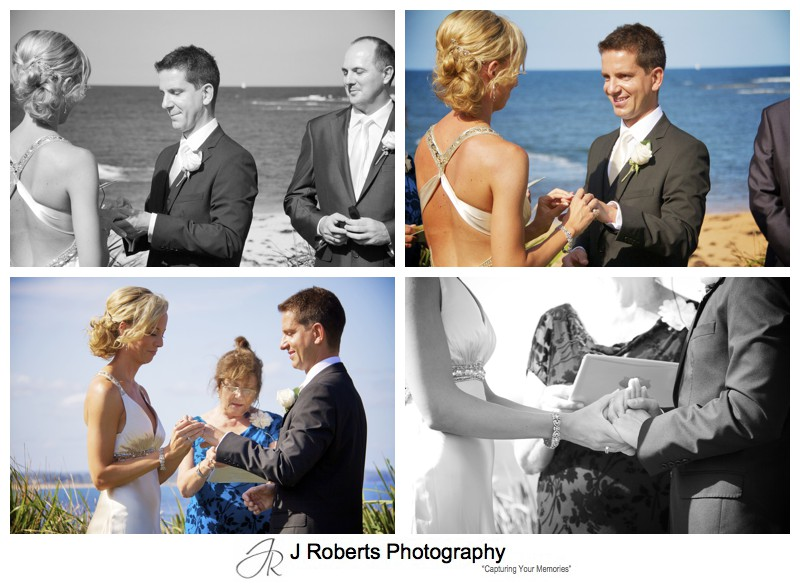 Bride and groom exchanging rings with ocean in the background = wedding photography sydney