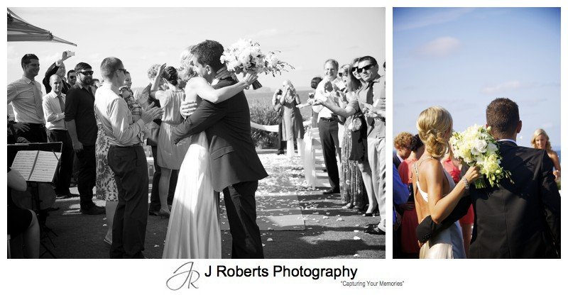 Bride and groom embrace after wedding ceremony - wedding photography sydney