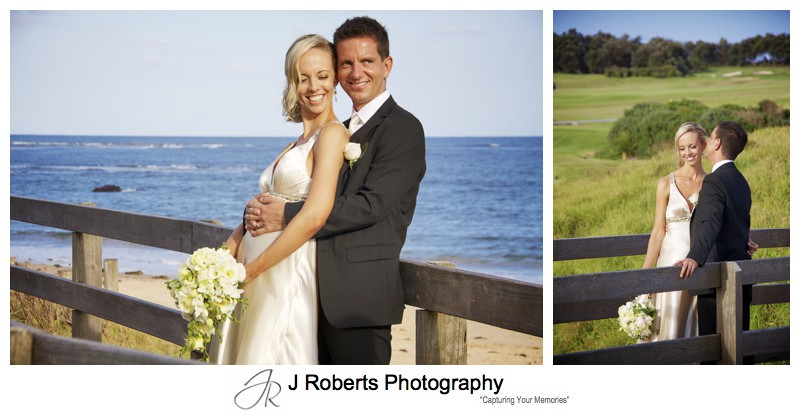 Bride and groom with Dee Why beach behind - wedding photography sydney