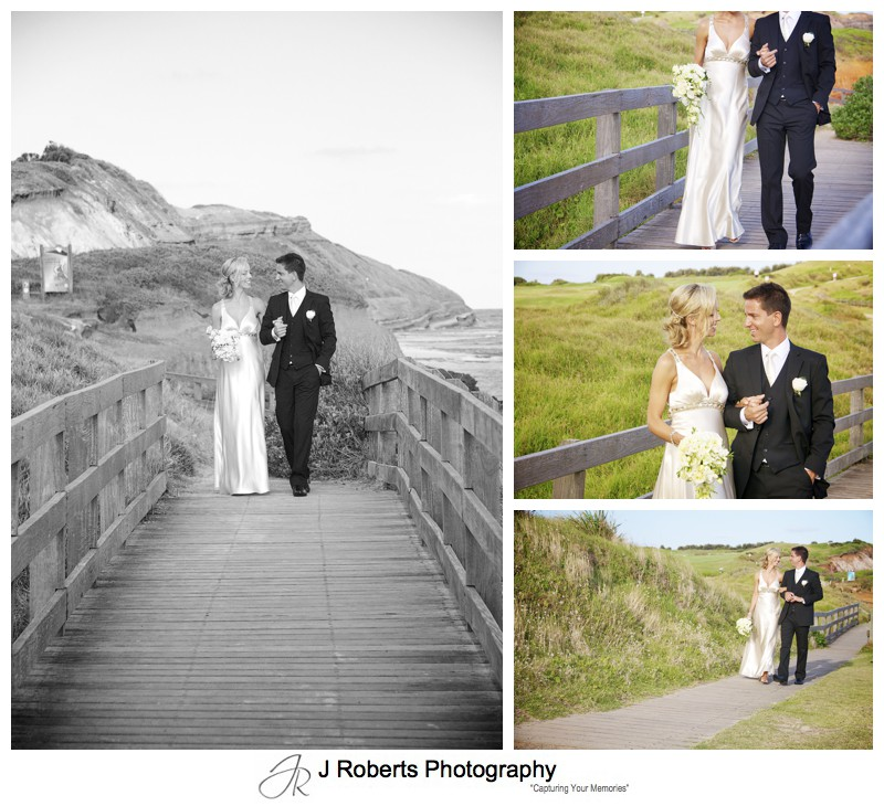 Bride and groom walking on bridge at Long Reef Golf Club - wedding photography sydney