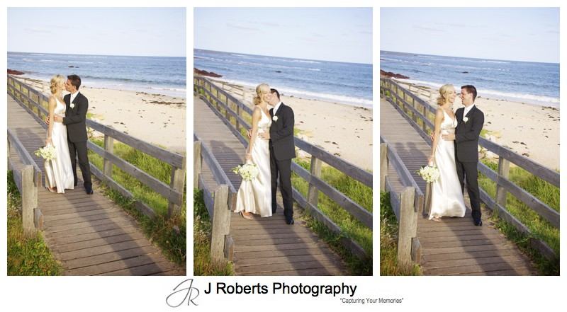 Triptic of bridal couple on the beach - wedding photography sydney