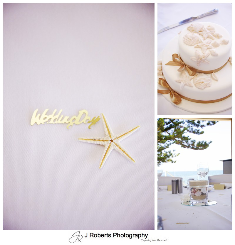 Beach design Wedding reception details at Long Reef Golf Club - wedding photography sydney