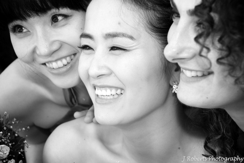 Bride smiling b&w - wedding photography