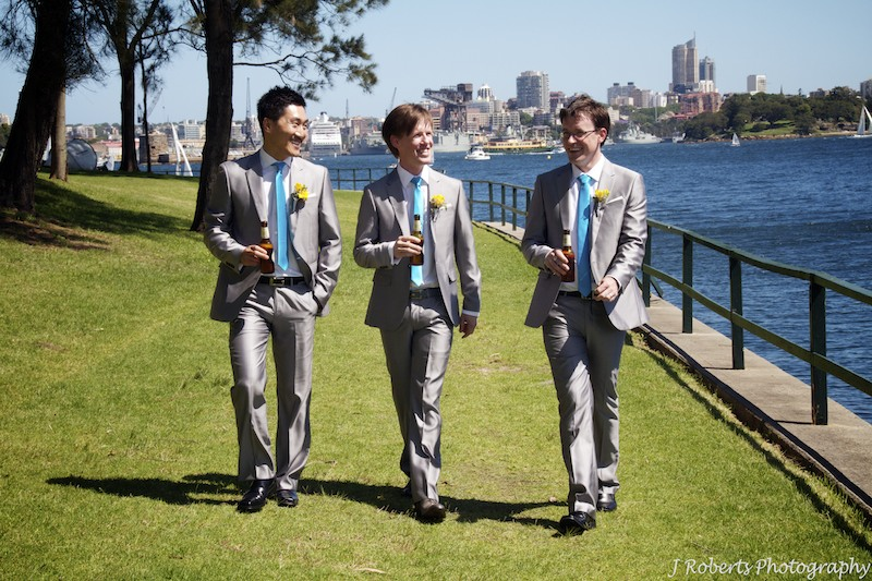 Groom and groomsmen Kurraba Point - wedding photography