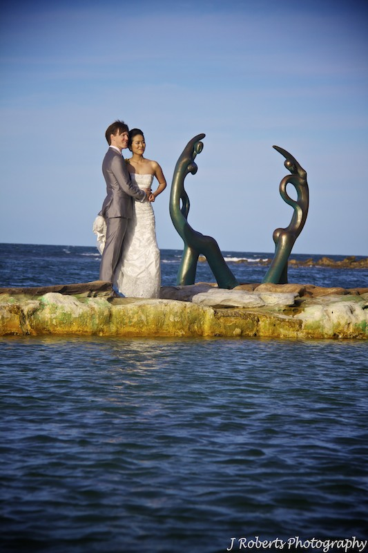 Bride & Groom at rock pool - wedding photography