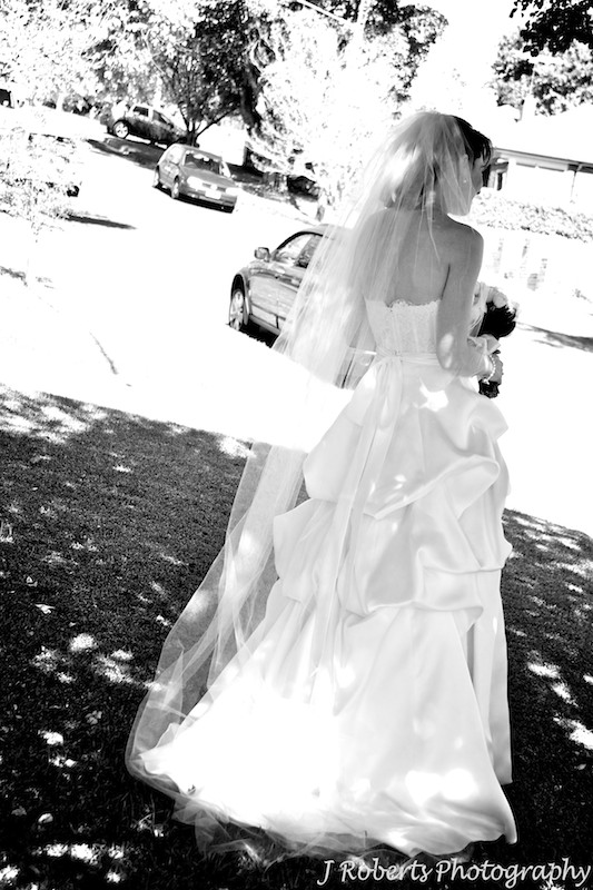 B&W of bride full length from behind - wedding photography sydney
