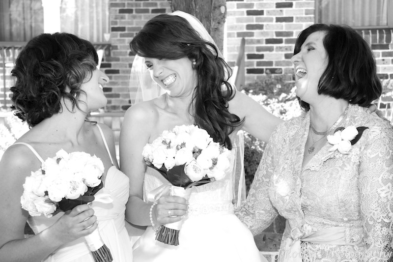 Bride laughing with her sister and mother - wedding photography sydney