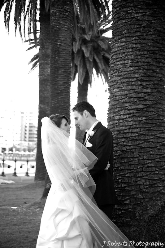 B&W groom looking into brides eyes the Rocks Sydney Harbour - wedding photography sydney