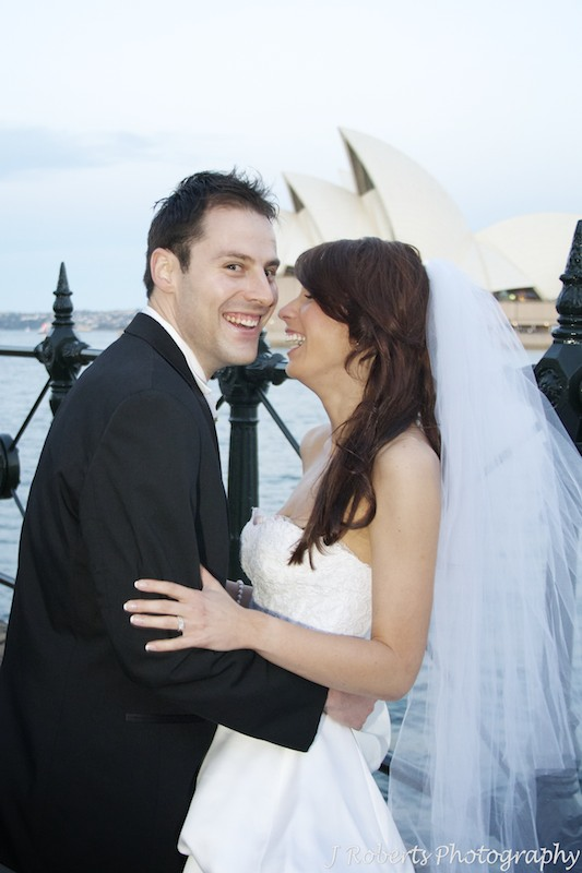 Bride and groom laughing - wedding photography sydney