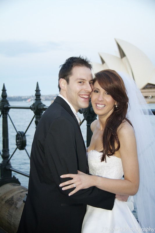 Bride and groom smiling the rocks sydney - wedding photography sydney