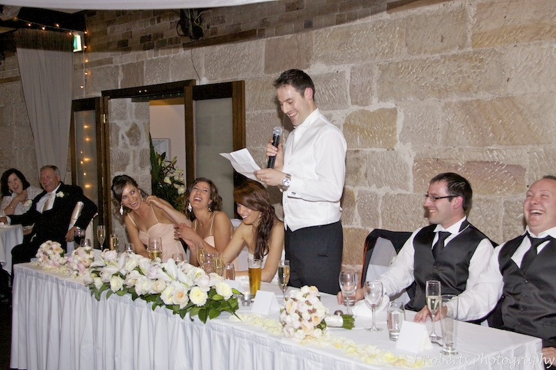 Groom making everyone laugh during his speech - wedding photography sydney