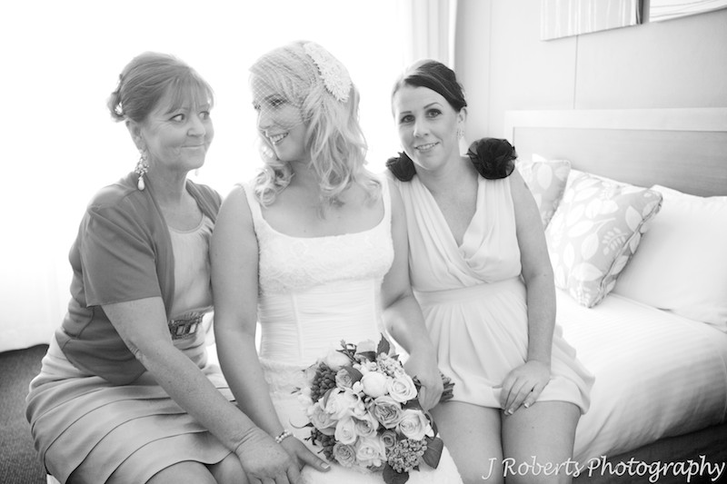 birds with mother and sister before wedding - wedding photography sydney