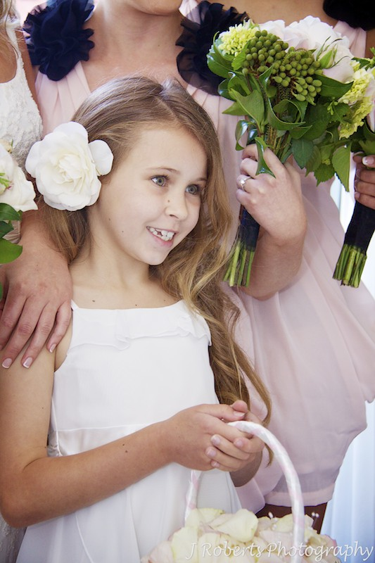 Smiling flower girl - wedding photography sydney