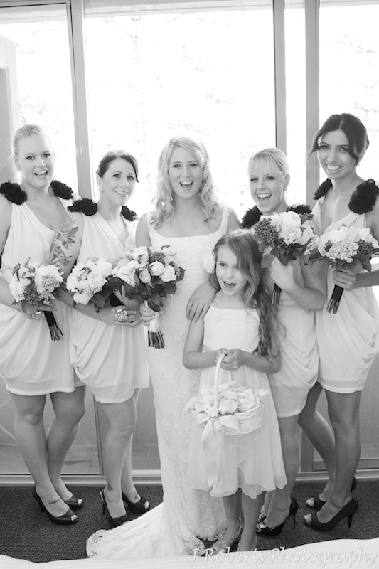 Cheering bridesmaids - wedding photography sydney