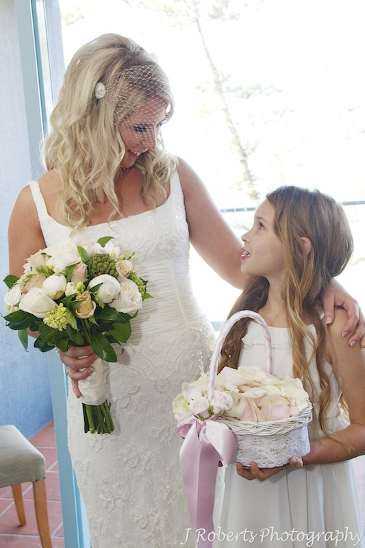 Bride with the flower girl - wedding photography sydney