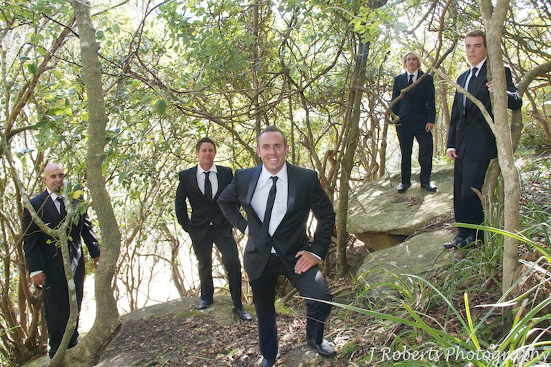 Groom with groomsmen Shelley Beach Headland - wedding photography sydney
